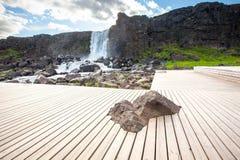 Oxararfoss waterfall in Thingvellir national park.  Royalty Free Stock Image