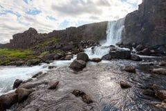Oxararfoss waterfall in Thingvellir national park.  Royalty Free Stock Photography