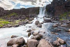 Oxararfoss waterfall in Thingvellir national park.  Stock Photo