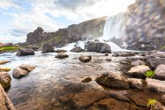Oxararfoss waterfall in Thingvellir national park.  Stock Image