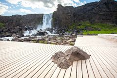 Oxararfoss waterfall in Thingvellir national park.  Royalty Free Stock Photo