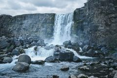 Oxararfoss waterfall, Thingvellir National Park, South Region, Iceland. Popular tourist places of Iceland Stock Images