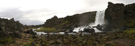 Oxararfoss waterfall in Thingvellir Park, Iceland royalty free stock photos
