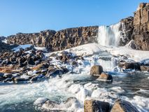 Oxararfoss waterfall in winter of Iceland. Oxararfoss, the strong waterfall in Thingvellir national park, in winter season with ice and snow in water, surrounded Stock Photography