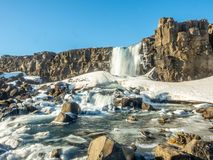 Oxararfoss waterfall in winter of Iceland. Oxararfoss, the strong waterfall in Thingvellir national park, in winter season with ice and snow in water, surrounded Royalty Free Stock Image