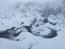 Oxararfosswaterval in de winter ijsland stock fotografie