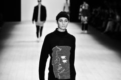 Oxblood fashion show. SYDNEY / AUSTRALIA - 20 May: Model walks on runway during Oxblood show at The Innovators fashion design studio during Mercedes Benz Fashion Stock Photos