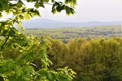 Oxbow全国Wildlfe避难所风景看法从哈佛采取的,马萨诸塞,美国 免版税库存照片