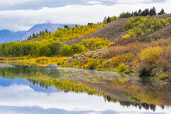 Oxbow Bend Autumn Colors. Autumn dawn at Oxbow Bend on the Snake River in Wyoming Stock Photo
