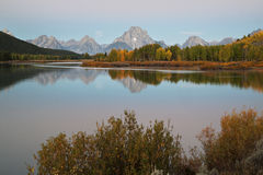 Oxbow Bend Dawn Lake and Mountains. View of Grand Tetons from Oxbow Bend at dawn Royalty Free Stock Photos