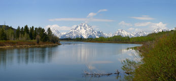 Oxbow Bend Panorama Spring Stock Image