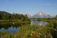 Oxbow Bend Spring With Boaters Royalty Free Stock Photo