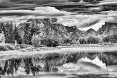 Oxbow Bend Sunrise at Dawn Stock Photo