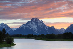 Oxbow Bend Sunset Stock Photos