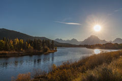 Oxbow Bend Sunset in fall. The scenic mountain landscape in teton national park Wyoming in fall at sunset from oxbow bend Royalty Free Stock Images