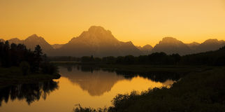 Oxbow Bend Sunset. The sun sets behind Oxboe Bend t in Grand Teton National Park, Wyoming stock photography