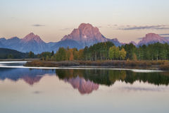 Oxbow Bend and Tetons at Sunrise. Oxbow Bend and Grand Tetons at sunrise Royalty Free Stock Photo
