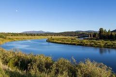 Oxbow chył przy Uroczystym Teton parkiem narodowym, Wyoming, usa Obrazy Royalty Free