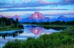Oxbow chył przy Uroczystym Tetons parkiem narodowym obrazy royalty free