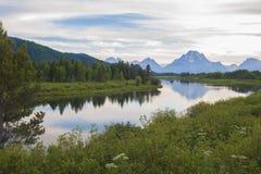 Oxbowkromming bij het Nationale Park van Grand Teton royalty-vrije stock fotografie