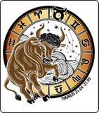 Oxen och zodiaktecknet. Horoskopcirkel. Vecto Vektor Illustrationer