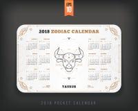 Oxen orientering för format för fack för 2018 år zodiakkalender horisontal Royaltyfri Bild