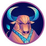 Oxenzodiaktecken, horoskopsymbol, blått, vektor vektor illustrationer