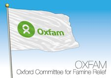 Oxfam international no-profit organization, flag. Oxfam flag, vector illustration, international organization for peace and justice Stock Photo