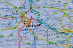 Oxford auf Karte stockfotos