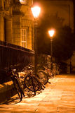 Oxford Bikes. Bicycles parked in an Oxford Street at night, England Stock Photo