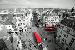 Oxford in black and white. Oxford, United Kingdom - March 25, 2015 - Picture taken from Carfax tower on the corner of St. Aldates, Cornmarket Street, High Street Stock Image