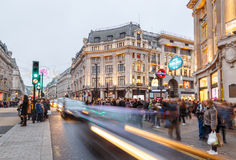 Oxford Circus, London - busy with Christmas shoppers. Royalty Free Stock Photography