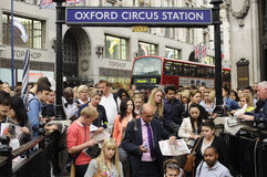 Oxford Circus tube station. Photo taken on 2, june 2012. Oxford circus,central London. People going to the tube in the rush hour Stock Image