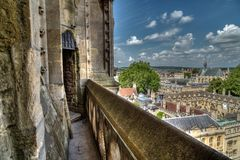 Oxford City from University Church of St Marys Tower. View from the top of the University Church of St Mary the Virgin, Oxford Royalty Free Stock Image