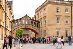 Architecture of Oxford, England, United Kingdom. OXFORD, ENGLAND  - JULY 10, 2016: Bridge of Sighs at Hertford College, Oxford, England. Oxford is known as the Royalty Free Stock Photography