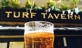 Oxford England Turf Tavern Pint Beer Garden. Oxford, England – August 22, 2015: A pint of beer catches the sun in the beer garden of the Turf Tavern, a Stock Images