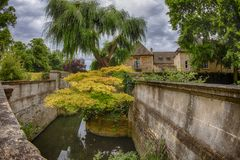 Oxford houses willow cottage on cloudy sky Stock Image