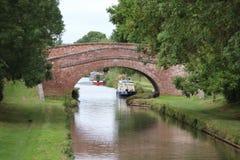 Oxford kanalbro och narrowboats royaltyfria foton