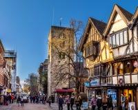 Oxford, Regno Unito - 30 aprile 2016: Via di Cornmarket Fotografia Stock Libera da Diritti