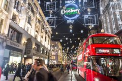 Christmas in Oxford Street, London, UK royalty free stock images
