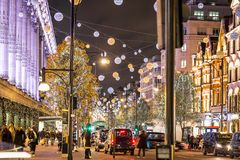 Oxford street in Christmas time, London Stock Photography