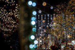 Oxford street in Christmas time, London Stock Photo