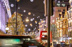 Oxford street in Christmas time, London Royalty Free Stock Images