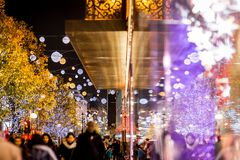 Oxford street in Christmas time, London Royalty Free Stock Photos