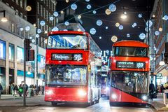 Oxford street in Christmas time, London royalty free stock photo