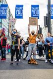 OXFORD STREET, LONDON/ENGLAND- 6 September 2020: BLM protesters as part of an All Black Lives UK protest in central London