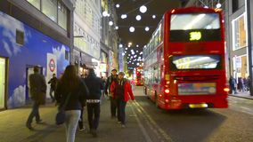 Oxford Street at night before Christmas London, UK stock video footage