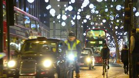 Oxford Street at night before Christmas in London, UK stock video footage