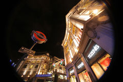 Oxford Street tube station at Christmas time Stock Image