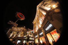 Oxford Street tube station at Christmas time. December 2012 Stock Photography